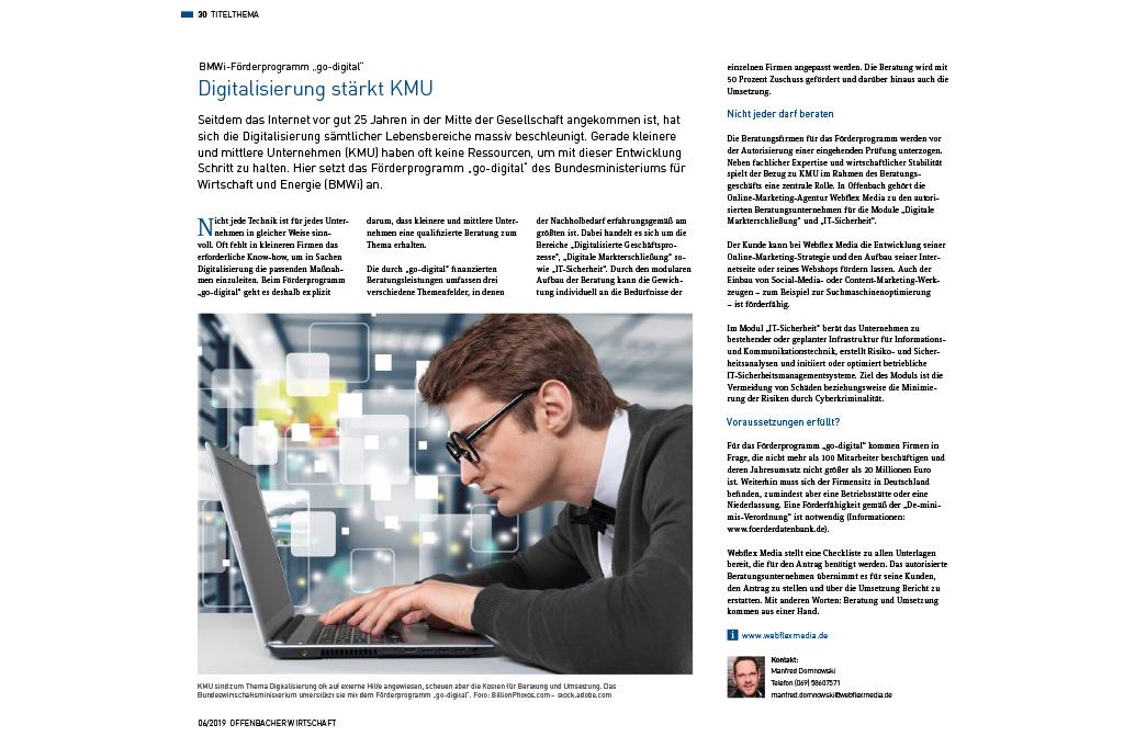 IHK Magazin Offenbacher Wirtschaft berichtet über webFLEX media