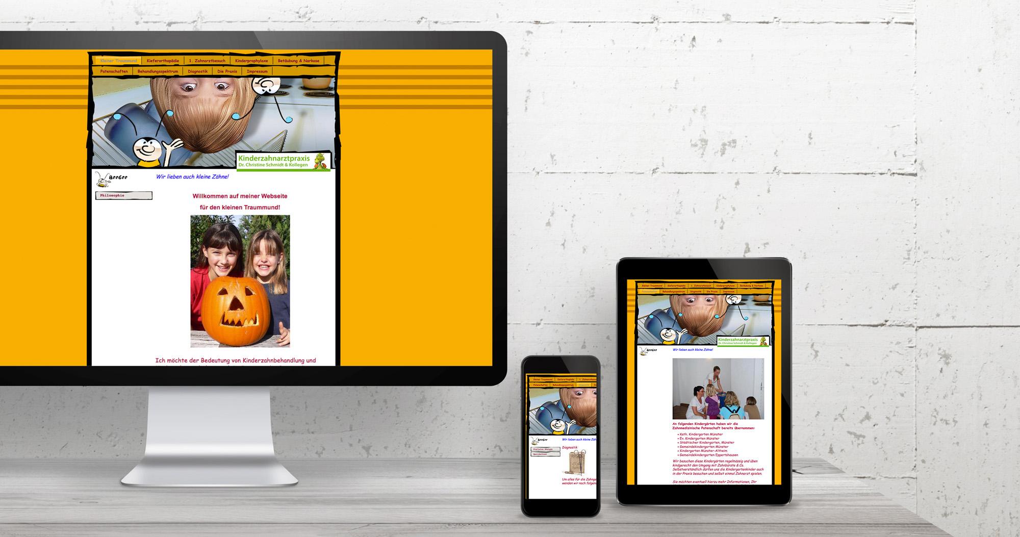 Kinderzahnarztpraxis Kleiner Traummund Internetseite