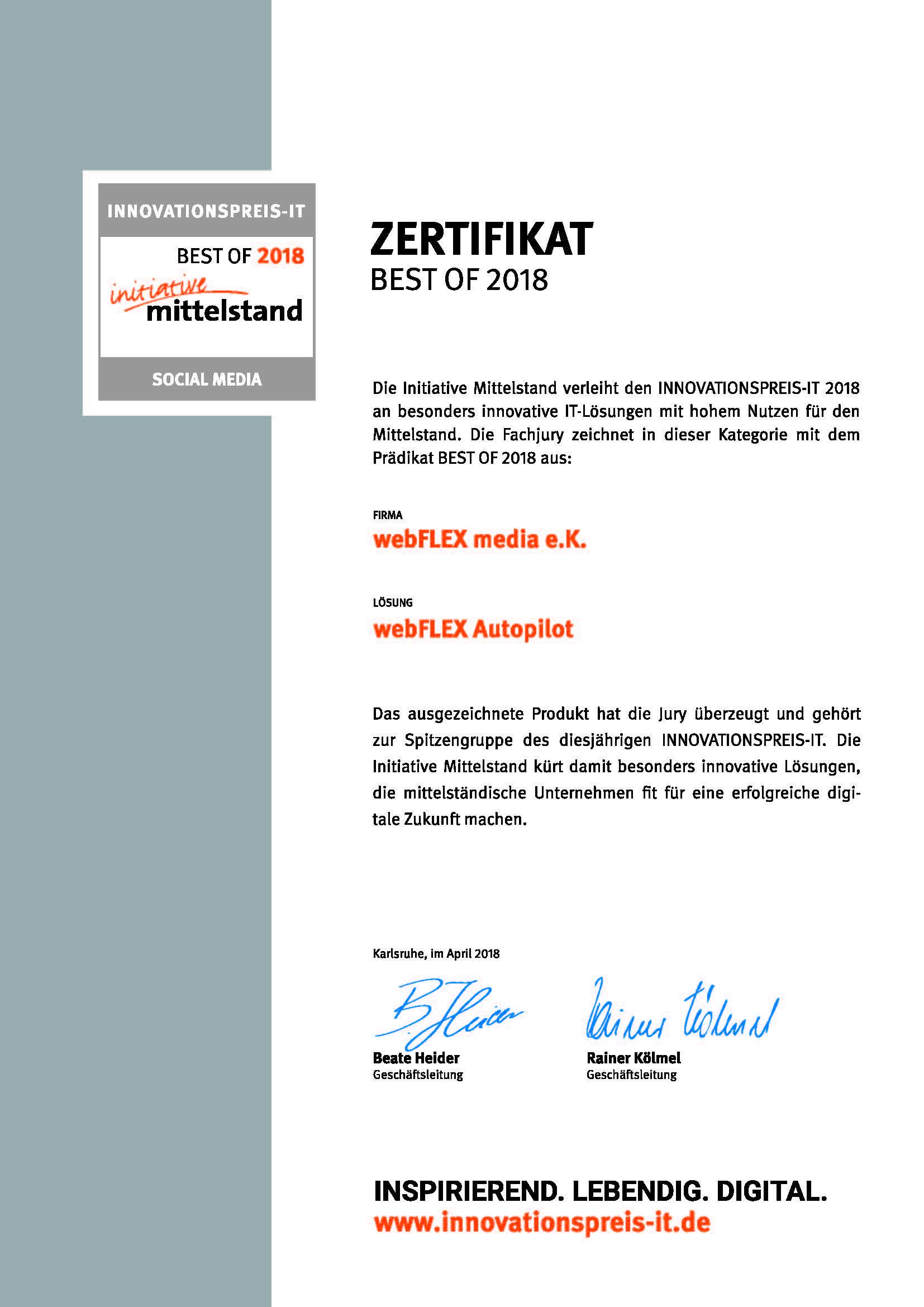 "Zertifikat Innovationspreis-IT ""best of"" Social Media"