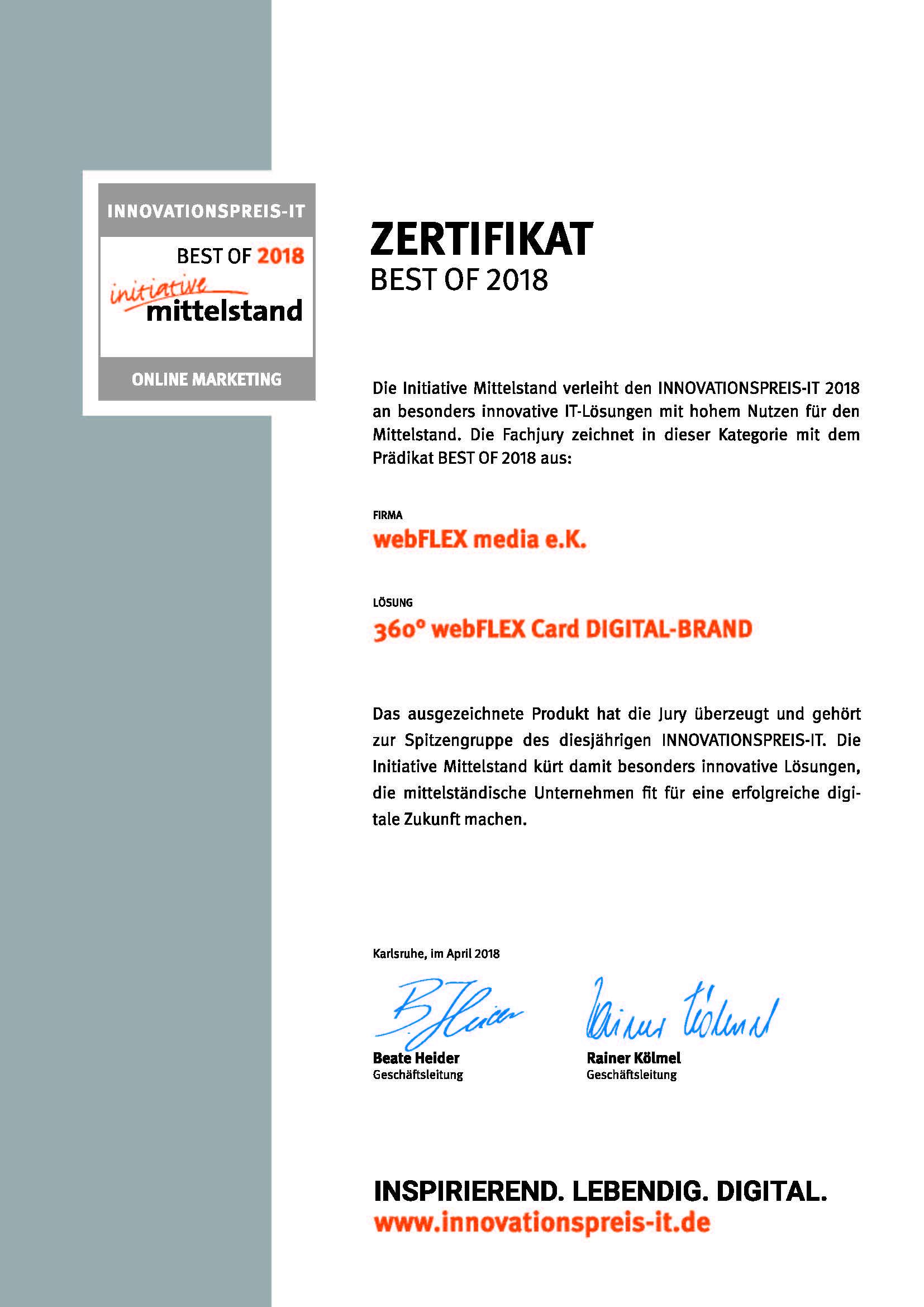"""Zertifikat Innovationspreis-IT """"best of"""" Online-Marketing"""