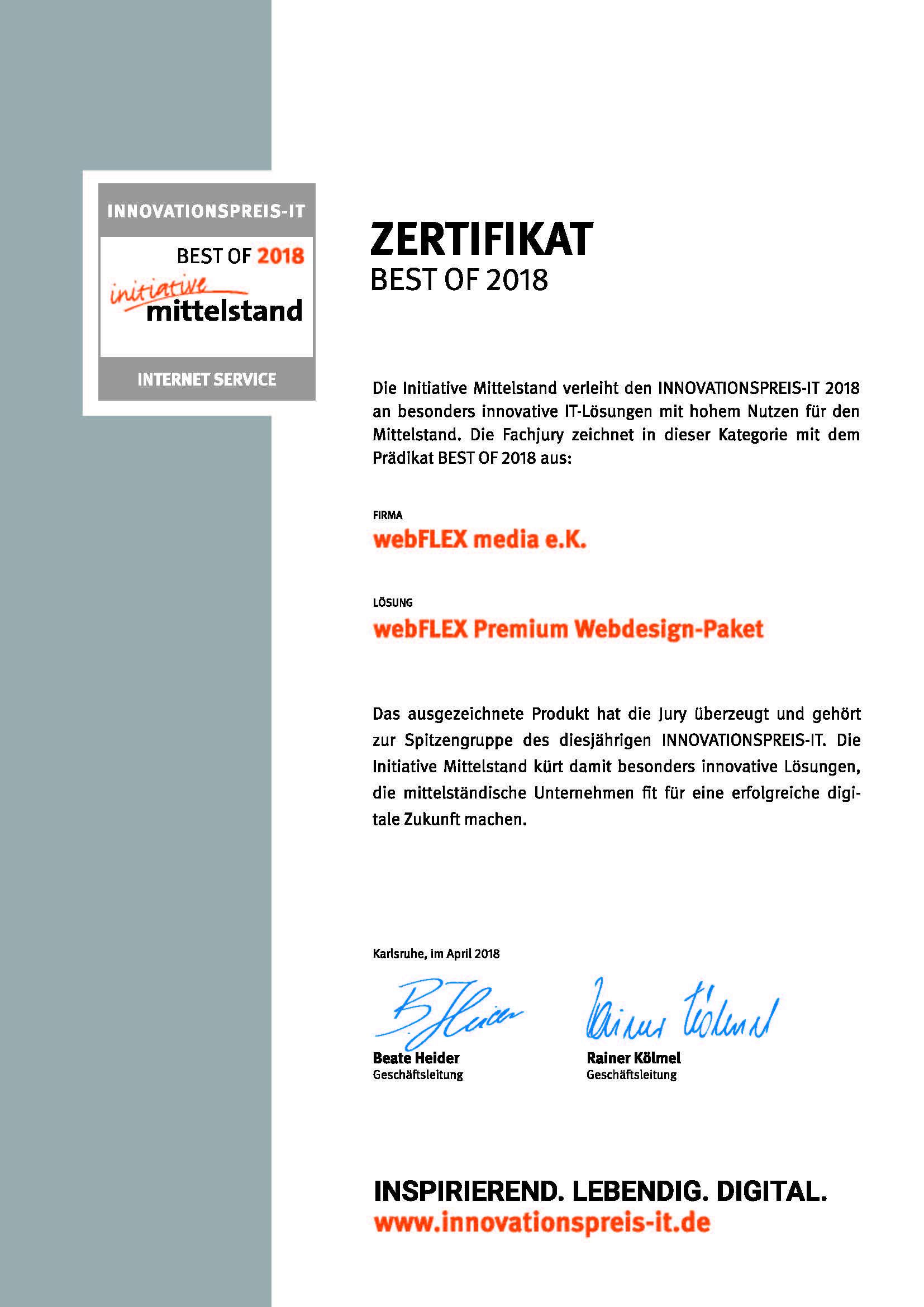 "Zertifikat Innovationspreis-IT ""best of"" Internet-Service"