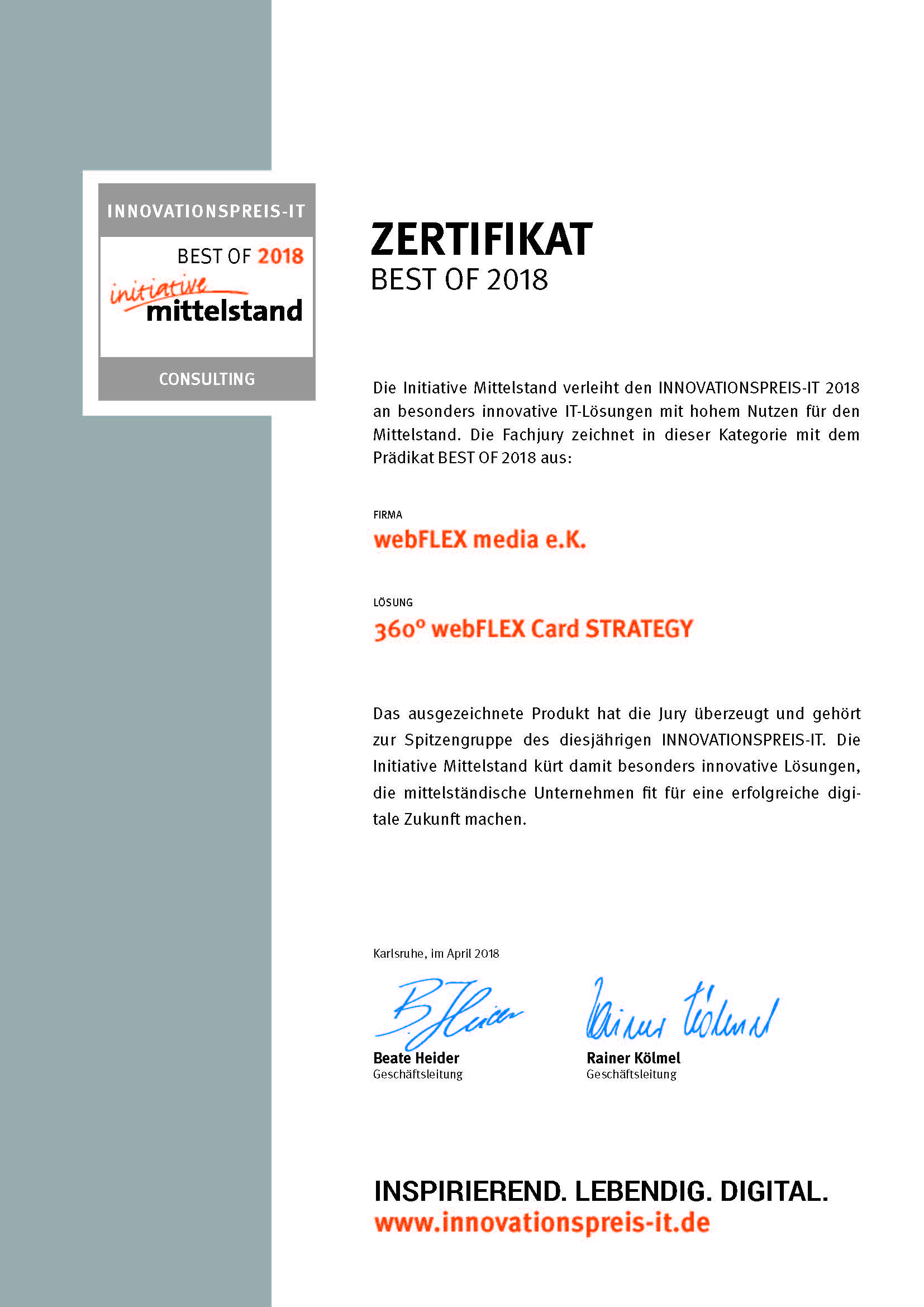 """Zertifikat Innovationspreis-IT """"best of"""" Consulting"""